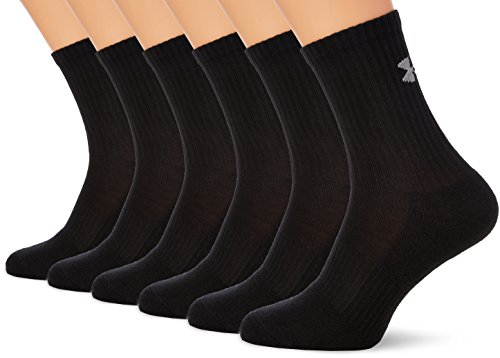 Under Armour Herren UA Charged Cotton 2.0 Crew Socken 6er Pack, Schwarz, Gr. L (42-47) (Under Armour Sport-socken)