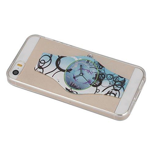 Etsue für iPhone SE/iPhone 5S TPU Silikon Case, Bunte Retro Flower Butterfly Blumen Schmetterling Muster Klare Ultradünne Silikon Transparent Case Crystal Case Durchsichtig Clear Back Cover Kratzfeste Blau Glocke