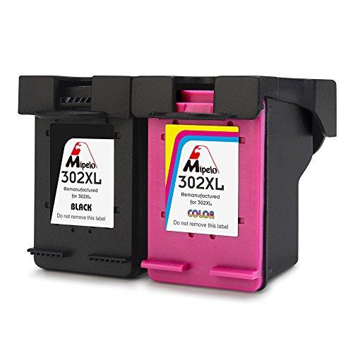 Mipelo Wiederaufbereitet HP 302 302XL Druckerpatronen, 2 Pack Kompatibel für HP DeskJet 3630 1110 2130 3636, HP Envy 4520 4525, HP OfficeJet 3831 4655 3830 4650 Drucker