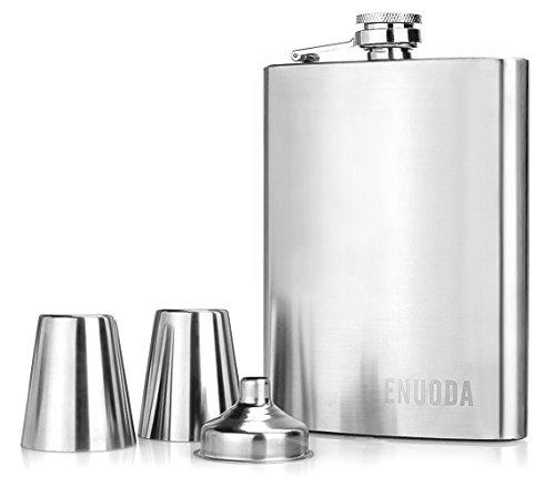 Flachmann enuoda Edelstahl Whisky Flachmann Geschenk Set mit zwei Schnapsgläser und Trichter, 8 oz – Silber, edelstahl, 227 ml (Trichter 8 Oz)