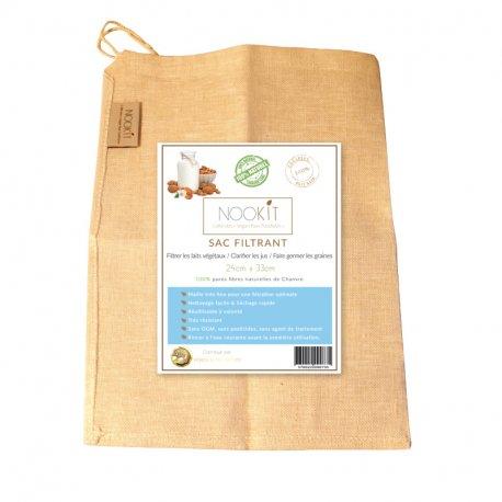Sac à lait végétal en fibres naturelles de CHANVRE - Très résistant & réutilisable