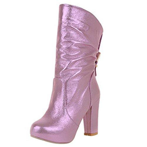 pink Femmes Mode TAOFFEN A Bottes Enfiler aXWWnU