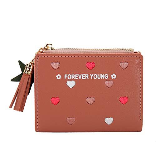 SUNSKYOO Knopf Brieftasche PU Stern Anhänger Quaste Dekor Stickerei Herz Druck Party Büro Kurze Brieftasche Kartenhalter, dunkelrosa -