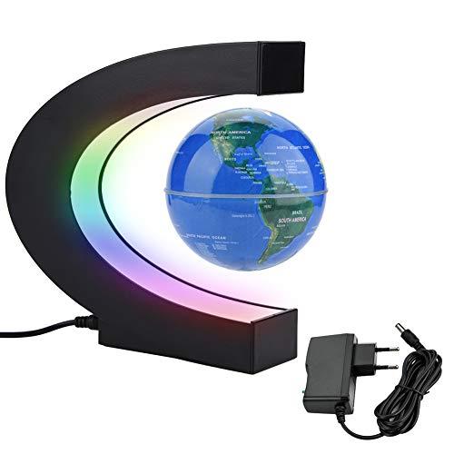 Zerodis Globo Flotante de levitación magnética Forma C para decoraciòn en Oficina y casa, Globos Terraqueo Magnetico con Luces LED(EU Plug Blue)