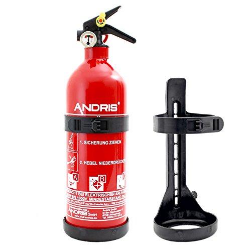Feuerlöscher 1kg ABC Pulverlöscher mit Manometer inkl. KFZ/Boot Halterung EN3 Orig. ANDRIS® + Prüfnachweis & ISO Symbolschild Folie