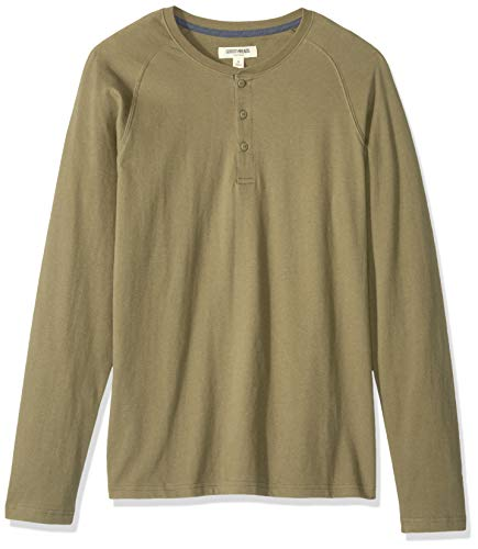 Goodthreads Long-Sleeve Sueded Jersey henley-shirts, Olive, US Tall (EU XL-XXL) - Sueded Baumwoll-shirt