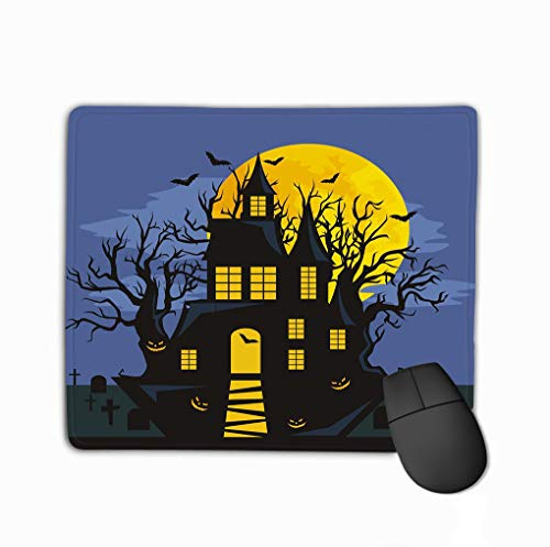 81 X 9.84 Inch Unique Printed Mouse Mat Design Halloween Horror Forest Woods Spooky Tree Pumpkins Cemetery Design Autumn Valley Spider Web Space Charming ()
