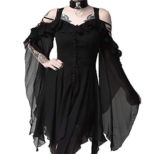 Madmoon Damen Vintage Kleid Langarm Elegant Sexy Gothic Schickes Off Shoulder Kleider Mit Button Und Taschen Mode dunkel verliebt Rüschen Ärmel Schulterfrei Gothic Midi-Kleid Gothic Kleid Kleider