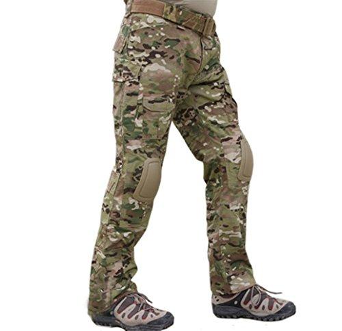 Lce gods Herren Militär Softair Paintball BDU Hose Combat Gen2 Taktische Hose mit Knieschoner Multicam CP, CP, X-Large -
