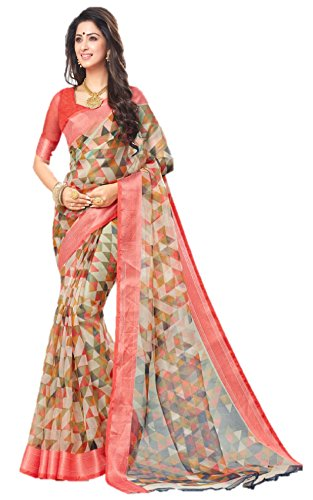 Miraan Women's Organza Saree With Blouse Piece (Srh001_Multi-Coloured)