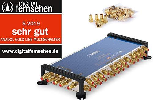 Anadol Gold Line 5/24 digitaler Multischalter [ Test SEHR GUT ] Multiswitch für 1 Satellit und 24 Ausgänge/Receiver - mit externem Netzteil - 29 vergoldete F-Stecker gratis