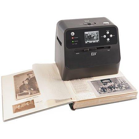 """ELV 4-in-1-Kombi-Scanner BD400 - für Fotoalben, Bilder, Dias, Negative - Vorschaudisplay 6 cm (2,4\""""), 14 MP, 3200 dpi"""