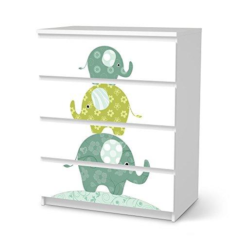 creatisto Möbel-Folie Ikea Malm 4 Schubladen Aufkleber/Deko für Kinderzimmer und Babyzimmer/Wohnaccesoires und Möbel-Sticker Passend zu Wandtattoos und Kinder-Tapete - Design Elephants