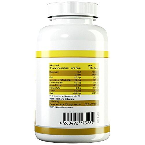 HEALTH+ Vitamin B5-120 Kapseln, 500 mg reine Pantothensäure pro Kapsel, B5 Vitamine für schöne Haut & starke Nerven, effektiver Talgregulator, Vitamin B