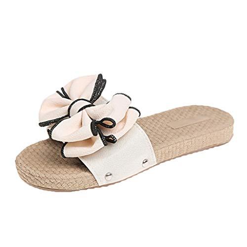 Damen Bow Sommer Sandalen Slipper Indoor Outdoor Flip-Flops Strandschuhe Frauen Schön Elegantes Casual Schuhe Hausschuhe Freizeitschuhe Sommerschuhe Zehentrenner (Beige, 35) - Gummi-classic Thong