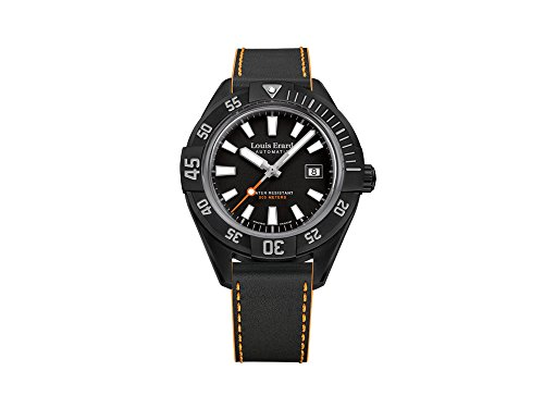 Louis Erard Sportive Automatic Watch, 44 mm, PVD, Black, Day, Leather Strap