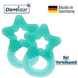 Dentistar® Beißring im 2er-Set - Stern - Zahnungshilfe für Babys ab 3 Monate - Kühlbeißring Baby aus TPE - Made in Germany – Grün Türkis Lagune