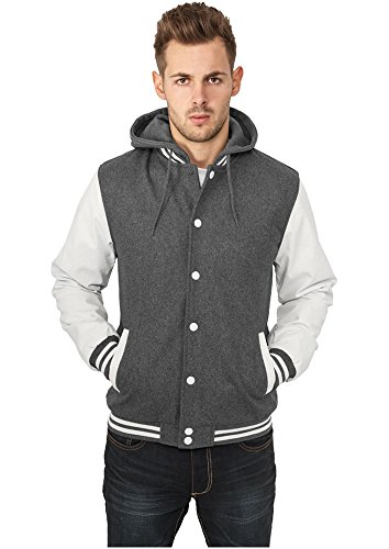 TB438 con cappuccio Oldschool College Jacket giacca uomo con cappuccio Grigio/Bianco