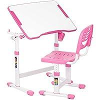 iKayaa Kid's Study Desk Chair Set Tilt Desktop Chair Height Adjustable Children Activity Art Table Set Work Station Metal Frame Pink