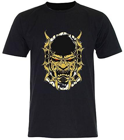 PALLAS Men's Samurai Mask Pirates Graphic Art T Shirt -PA243 (Black , L)