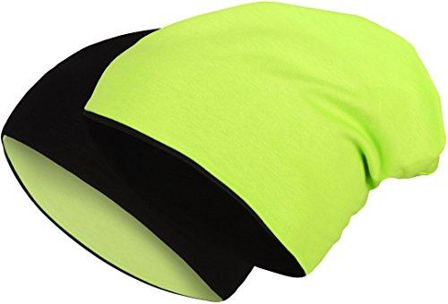 2 in 1 Wendemütze - Reversible Slouch Long Beanie Jersey Baumwolle elastisch Unisex...