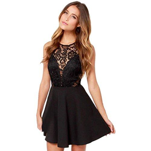 Spitzenkleider Damen, Frauen Spitzen Stitching Rückenfrei Kurze Abschlussball Cocktail Kleid Lässig Mini-Kleid Sunday (Schwarz, L) (Kleider Für Frauen-spitze-schwarz)