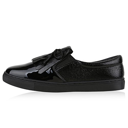d40c7240a09282 Damen Sneakers Slip-ons Lack Glitzer Metallic Slipper Schuhe Schwarz Lack  Fransen ...