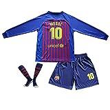 BTA APPAREL 2018/2019 Barcelona #10 Lionel Messi Heim Lange Ärmel Kinder Fußball Trikot Hose und Socken Kindergrößen (8-10 Jahre)