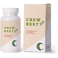 CREWREST® - Die 100% natürliche Schlaf Rezeptur mit 9 Nährstoffen - u.a. L-Tryptophan, Baldrian, Hopfen, Passionsblume, Magnesium | Von Schlafforschern und Piloten entwickelt | 30-Nächte-Packung