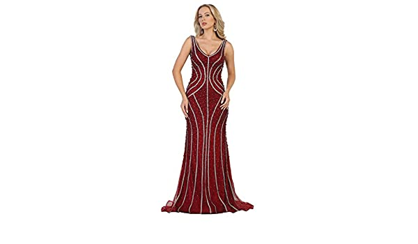 Royal Queen RQ7511 Red Carpet Fitted Formal Dress - Red -: Amazon.co.uk: Clothing