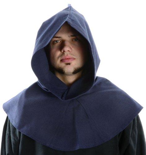 Baumwolle Kapuzen-mütze (HEMAD Mittelalter Kapuze blau Baumwolle Mittelalterliche Kleidung)