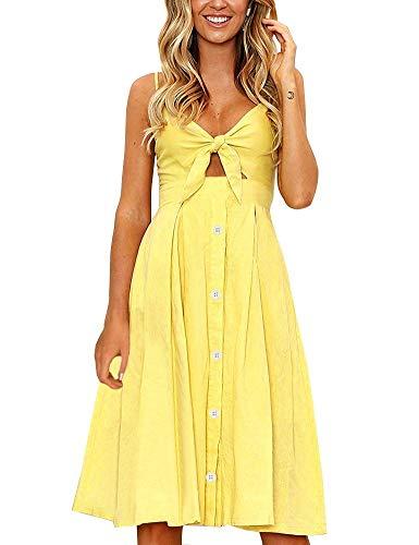 FANCYINN Kleid Damen Sommer Knielang Dekoltee V-Ausschnitt Sommerkleid Midi Träger Rückenfreies A-Linie Kleider Strandkleider Gelb