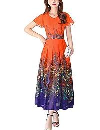 869cc2c468e4 dress ZLL Swing Vestito da Donna-per Uscire Casual Vacanze Vintage Moda  Città Fantasia Floreale A V Maxi Manica Corta Poliestere…