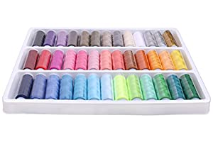 Come 2 Buy - Pack Of 39 Spools Rainbow Assorted Colour Colors Polyester Sewing Thread Box Kit Set Ideal For Quilting Stitching / Hand Sewing / Machine Sewing