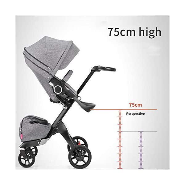 BABIFIS Baby Stroller High Landscape Can Sit Reclining Foldable Reversible Baby Four-wheeler Stroller E BABIFIS 75CM high landscape, two-way adjustment, SUV-level suspension, multi-turn adjustment, away from the car exhaust, breathing fresh air Height-adjustable, no need to change chairs, and easy to eat in parallel with most dining tables As a two-way adjustment, two orientations towards three seats, two-way implementation,Sleeping basket can be carried independently, 0-6 months baby's comfortable cot 5