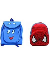 Pratham Enterprises Combo Of Blue Smile Bag And Red & Blue Soft Toy Bag ( Pack Of 2 )