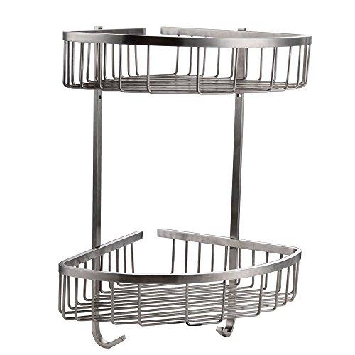 Konhard cs002 in acciaio inox per doccia, 2 piani, montaggio a parete, finitura in acciaio spazzolato