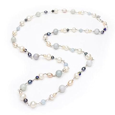 Necklace sautoire: Jade, Aquamarine, and Genuine Freshwater Pearls 925/1000.