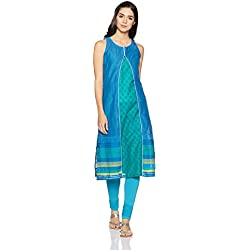 BIBA Women's Angrakha Kurta (SUMMER E12619_Blue and Green_32)