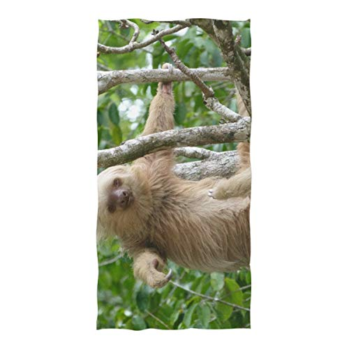 Nananma Large Beach Towel Sloth In Costa Rica Print Sand Resistant Picnic Blanket Beach Mat for Travel Pool Swimming Bath Camping Yoga Gym Sports