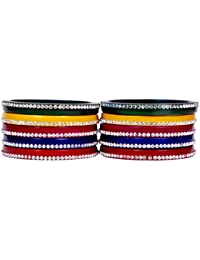 Dulari Stone Embellished Multicolored Lac Round Rajputi Bangle Set For Women (Set Of 10 Bangle)
