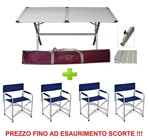 Tavolo TAPPARELLA Genius 150x80 CM in Alluminio + 4 Sedia Regista RICHIUDIBILE in Alluminio TEXTILENE Blu - Ideale per Veranda Camper E Campeggio