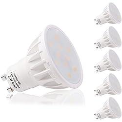 LOHAS 6W GU10 Lot de 5 Ampoule LED, 50W Ampoule Halogène équivalent, 500lm, Blanc Froid, 6000K, 120 à Larges Faisceaux, Ampoule LED GU10, Culot GU10