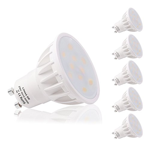GU10 LED Lampe, LOHAS 5er Pack 6W GU10 LED Lampen, Kaltweiß 6000K, 500lm, Ersatz für 50W Halogenlampen, 120°Abstrahlwinkel, LED Birnen, LED Leuchtmittel, 220 -240V AC