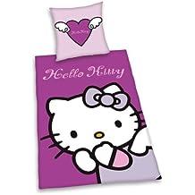 Herding 447114050 - Juego de funda nórdica y funda de almohada de linón (80 x 80 cm, 135 x 200 cm, 100% algodón), diseño de Hello Kitty
