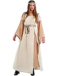 Elbenwald Women's 2-Piece Dress With Headband Costume For Medieval Middle Ages Festival Carnival Beige