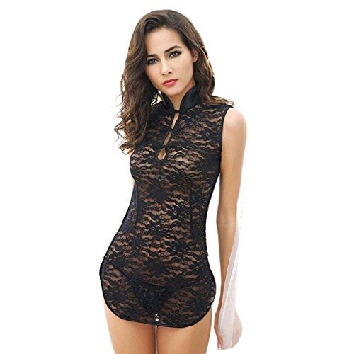 Frauen Reizvolle Wäsche Kasten Spitzer Schwarz Kleid+T-back+Gurt A Tasse (Schwarz)