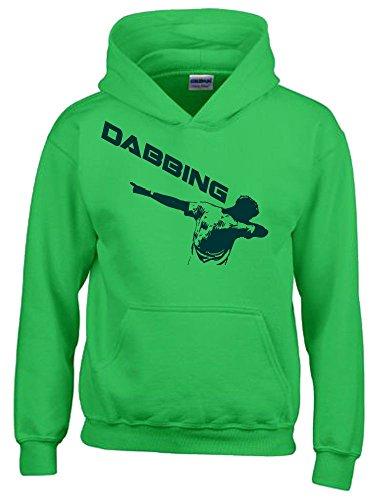 DABBING ! Kinder HOODIE Sweatshirt mit Kapuze green-green, Gr.140cm