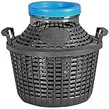 Home Damajuana en Vidrio con cesta de plástico, verde/Marrón, 5 Litros