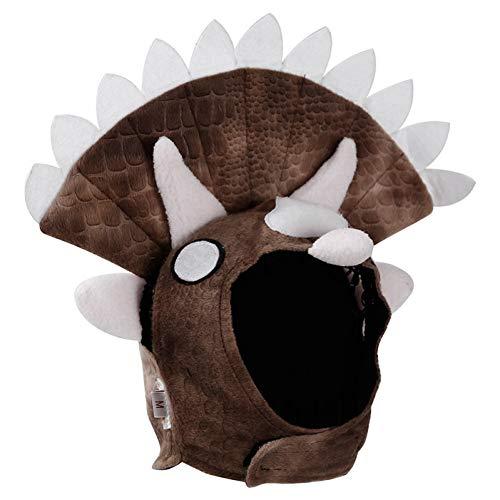 Kostüm Triceratops Katze - LCWYP Haustier Halloween 1 Stücke Halloween Triceratops Dinosaurier Party Kostüm Outfits Für Bulldog Möpse Winter Warme Fleece Hund Lustige Katze Haustier Hut Kappe